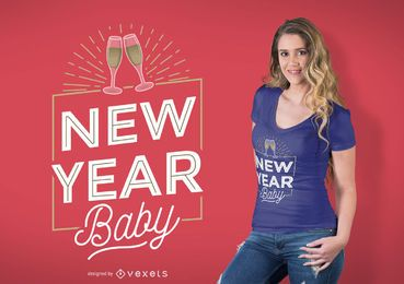 Diseño de camiseta de bebé de año nuevo