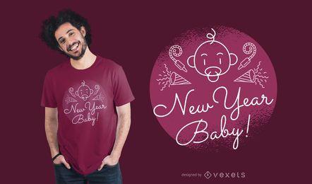 Diseño fresco de la camiseta del bebé del Año Nuevo