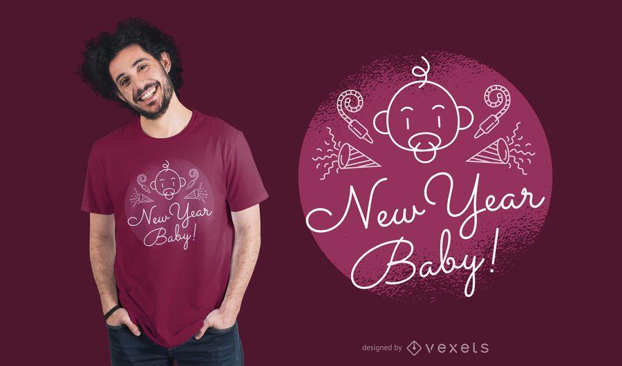Cooler neues Jahr-Baby-T-Shirt Entwurf