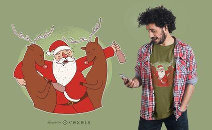 Design bêbedo do t-shirt de Santa