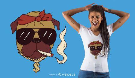 Schläger Mops T-Shirt Design