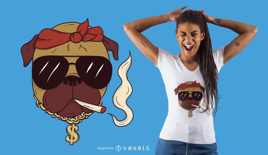 Diseño de camiseta de thug pug