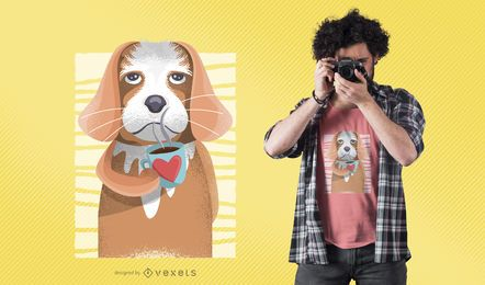 Projeto do t-shirt do cão do café
