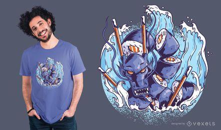 Diseño de camiseta de dragón de sushi