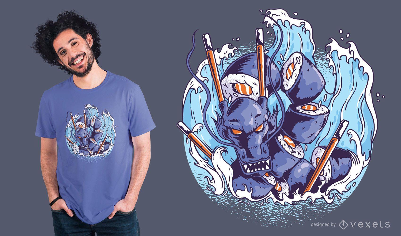 Sushi Dragon T-Shirt Design