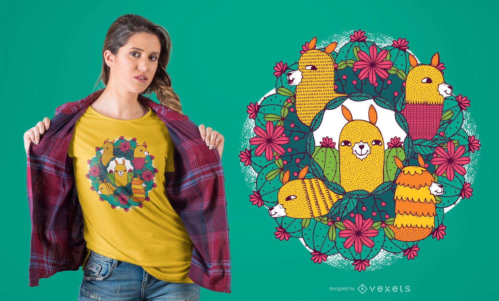 Diseño de camiseta Llama Mandala