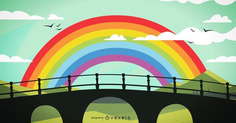 Desenho de ilustração de ponte de arco-íris