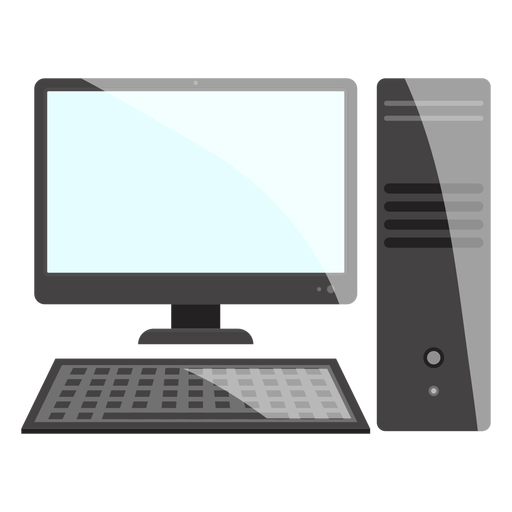 Icono de escritorio de computadora en blanco y negro Transparent PNG