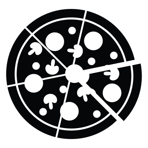 Icono de pizza en blanco y negro Transparent PNG