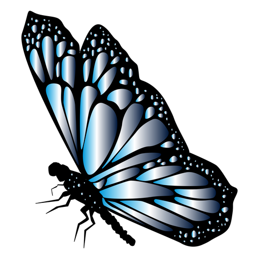 Blue detailed butterfly vector Transparent PNG