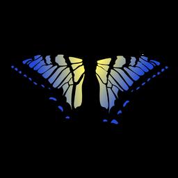Blauer und gelber Schmetterlingsentwurf