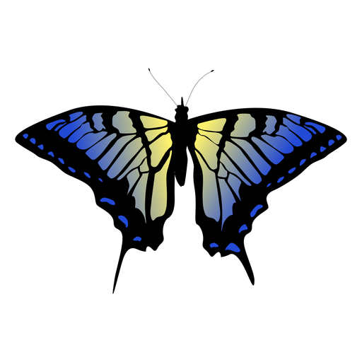 Blue and yellow butterfly design Transparent PNG