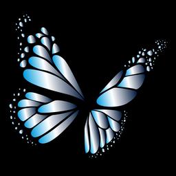 Mariposa azul en diseño de vuelo