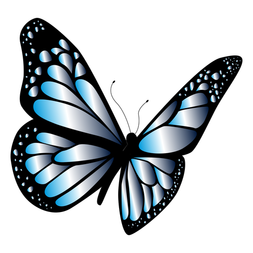 Blue butterfly in flight design Transparent PNG