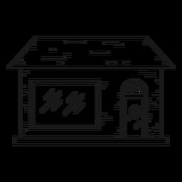 Icono de línea de casa de ladrillo