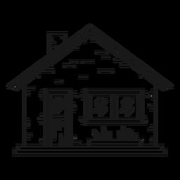 Icono de estilo de línea de casa bungalow