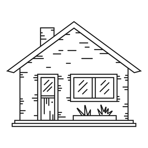 Bungalow house line style icon Transparent PNG