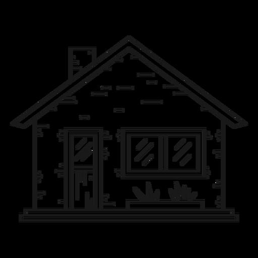 Icono de estilo de línea de casa bungalow Transparent PNG