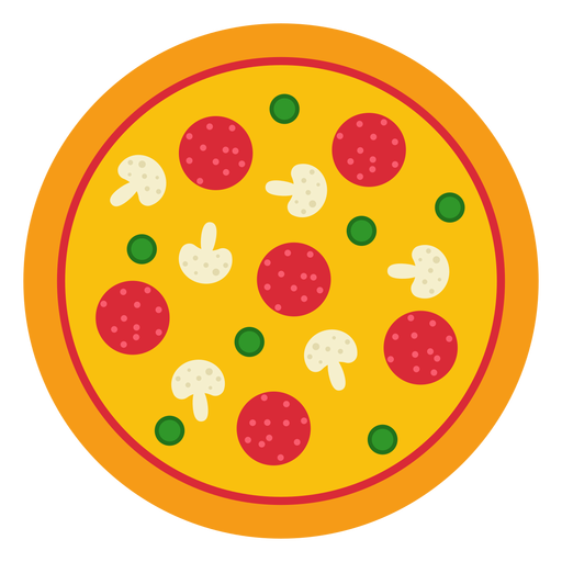 Colorful whole pizza design Transparent PNG