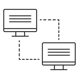 Icono de transferencia de enlace de computadora