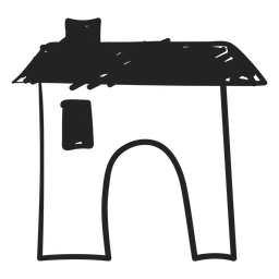 Concrete house hand drawn icon