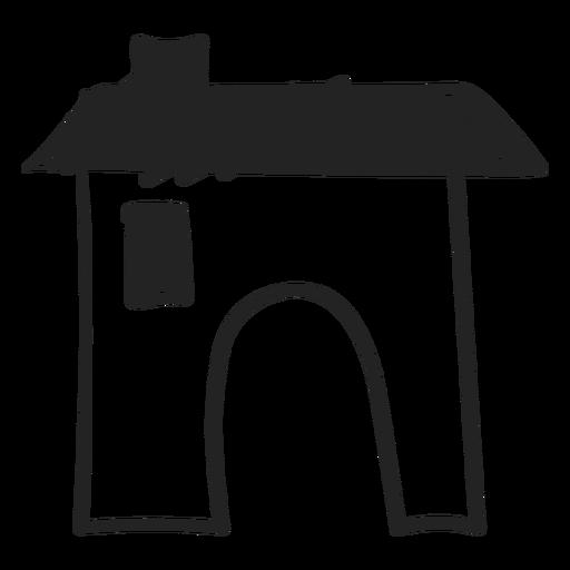 Concrete house hand drawn icon Transparent PNG