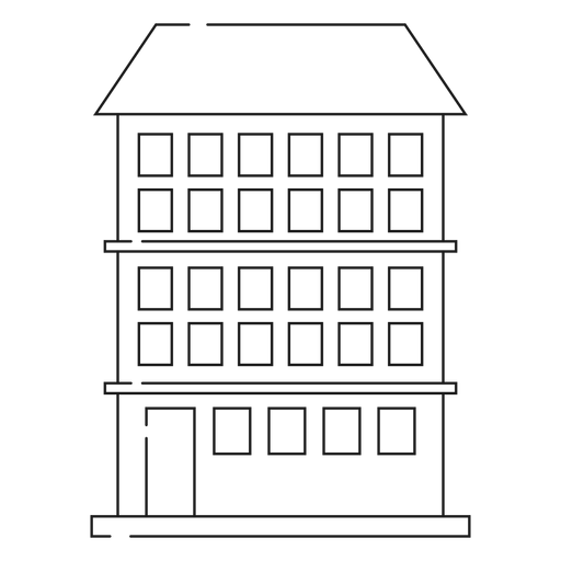 Condominium builing line icon Transparent PNG