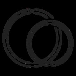 Par, anéis, linha, ícone