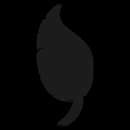 Curved leaf black icon