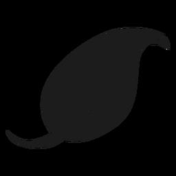 Gebogene Spitze Blatt schwarz Symbol