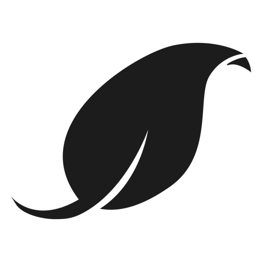 Curved tip leaf black icon Transparent PNG