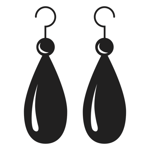 Dangle earrings black icon Transparent PNG