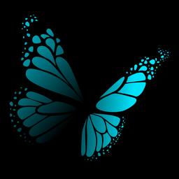 Ausführlicher blauer Schmetterlingsvektor