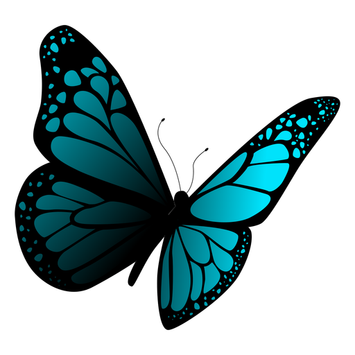 Detailed blue butterfly vector Transparent PNG