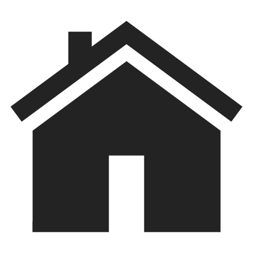 Flat bungalow house black icon Transparent PNG