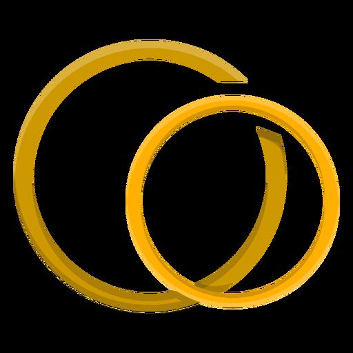 Pareja de oro anillo vector Transparent PNG