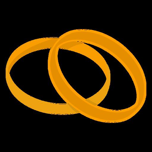 Pareja de oro anillos vector Transparent PNG