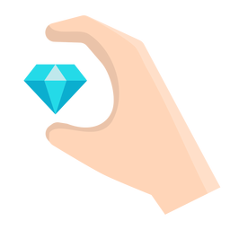 Hand with floating diamond vector