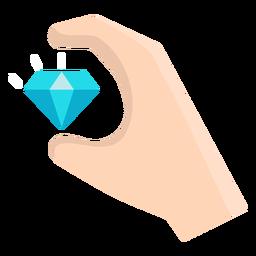 Mano con vector de diamante flotante