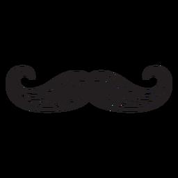 Handlebar style mustache hand drawn icon