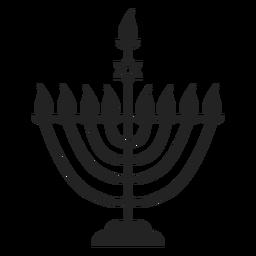 Icono de menorah de vela de Hanukkah
