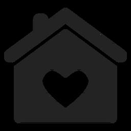 Casa com um ícone de coração negro