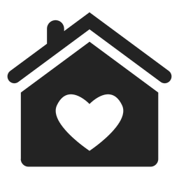 Home with a heart black icon