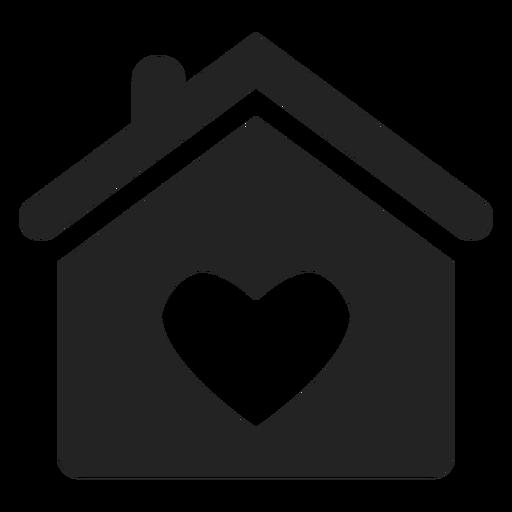 Casa com um ícone de coração negro Transparent PNG