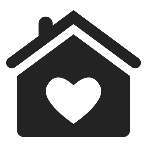 Home with a heart black icon Transparent PNG