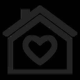 Zuhause mit einem Herz-Symbol