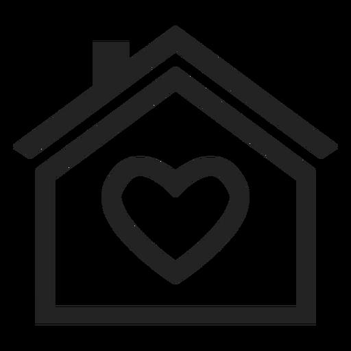 Casa com um ícone de coração Transparent PNG
