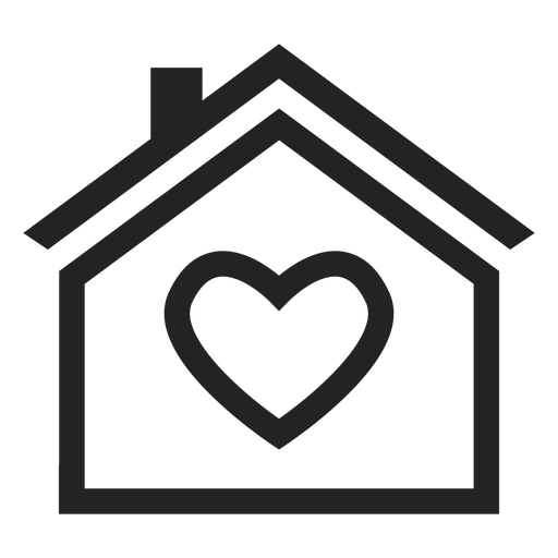 Home with a heart icon Transparent PNG