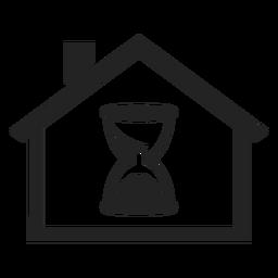 Zuhause mit einem Sanduhr-Symbol