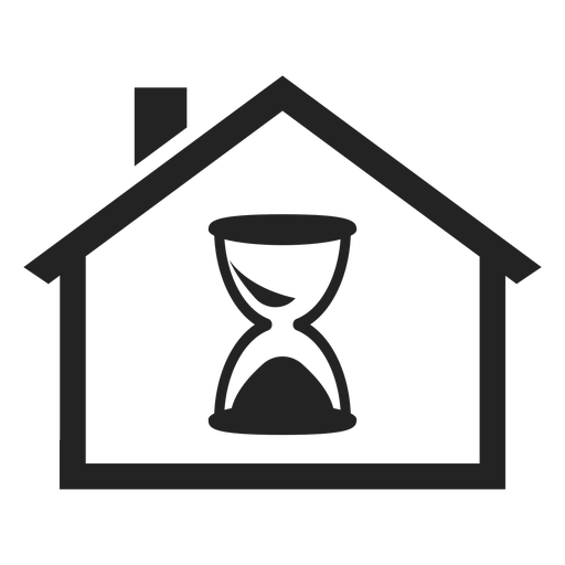 Home with an hourglass icon Transparent PNG